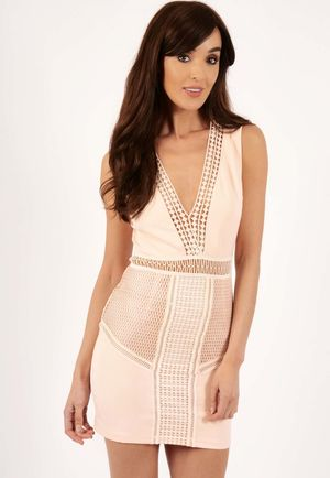 Chelsea Nude Lace Detail Mini Dress