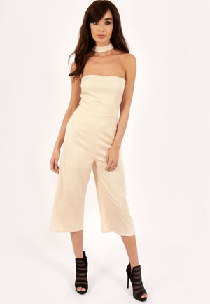 Farah Nude Neck Detail Jumpsuit