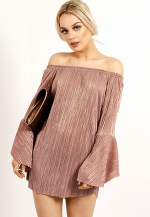Metallic Pink Pleated Bardot Dress