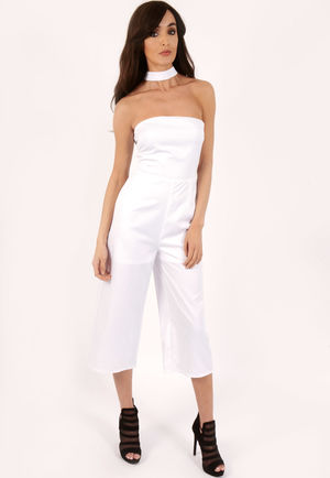Farah White Neck Detail Jumpsuit
