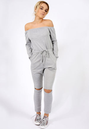 Slit Knee Jumpsuit Grey