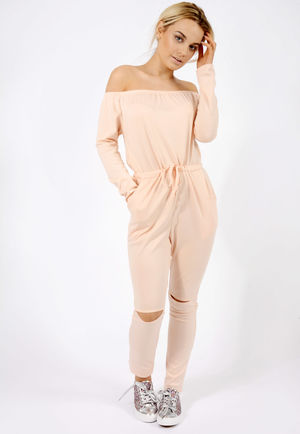 Slit Knee Jumpsuit Nude
