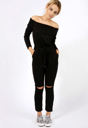 Slit Knee Jumpsuit Black