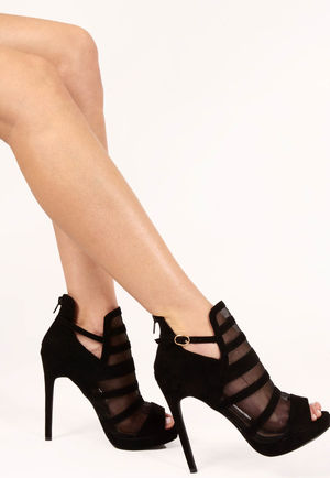 Rihni Black Mesh High Heels