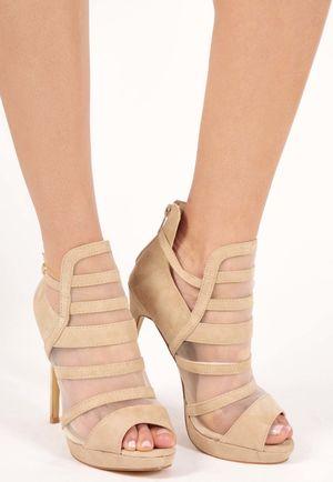 Rihni Nude Mesh High Heels