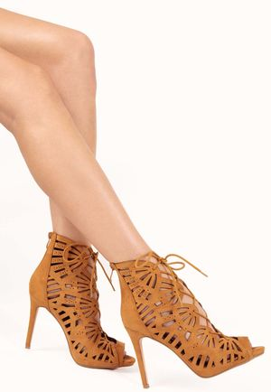 Penny Camel Laceup Lasercut Gladiator Heels