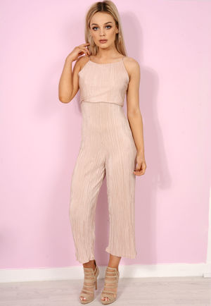 Nude Satin Pleated Cullotte Jumpsuit