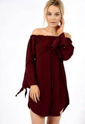 Tie Sleeve Bardot Dress Wine