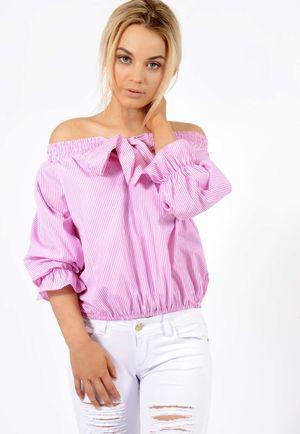 Bow Stripe Bardot Top Pink