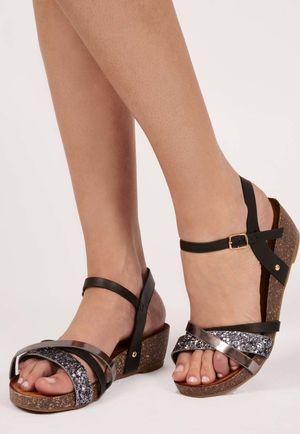 Yilli Black Metallic Cross Front Sandal