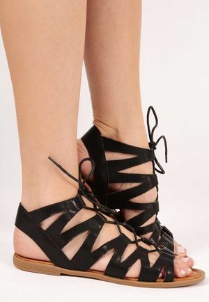 Mica Black Cut Out Gladiator Sandals