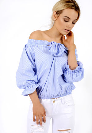 Bow Stripe Bardot Top Blue