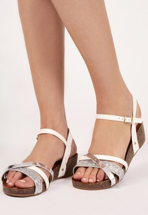 Yilli White Metallic Cross Front Sandal