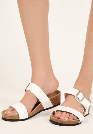 Sofia White Patent Double Strap Sandals