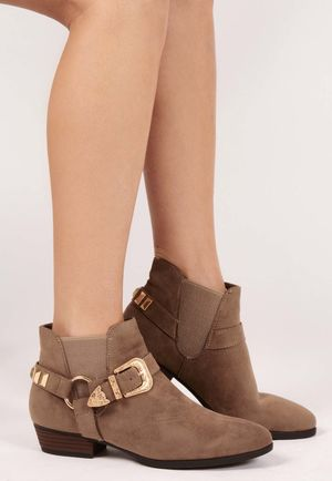 Silvi Taupe Faux Suede Buckle Detail Ankle Boots