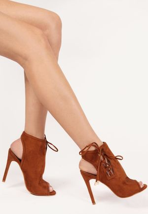 Jenna Tan Side Lace Up Peep Toe Heels