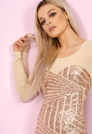 Mesh Sequin Mini Dress Nude / Rose Gold