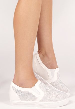 Shelly White Embellished Wedge Trainer