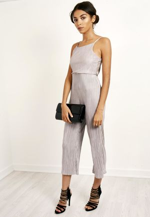 Satin Pleated Jumpsuit Silver