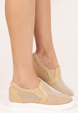 Shelly Beige Embellished Wedge Trainer
