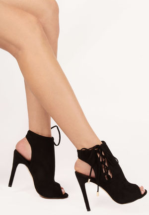 Jenna Black Side Lace Up Peep Toe Heels