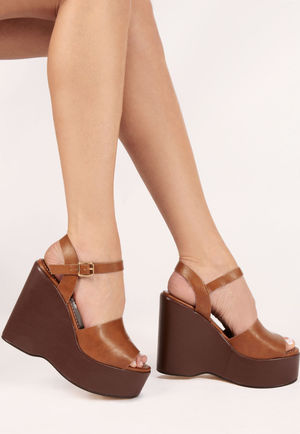 Frankie Tan PU Wedges