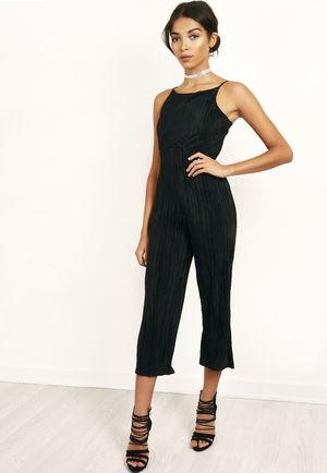 Satin Pleated Jumpsuit Black