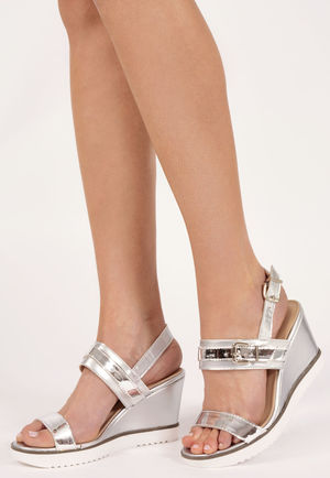 Lisa Silver Metallic Wedges