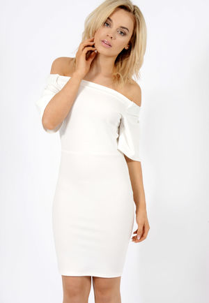 Frill Sleeve Bardot Dress White