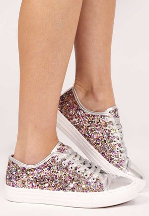 Emma Silver Glitter Lace Up Trainer