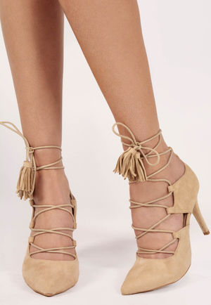 Clover Nude Faux Suede Pointed Strappy Lace Up Heels