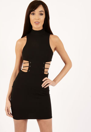Haven Black Side Eyelet Lace Up Dress
