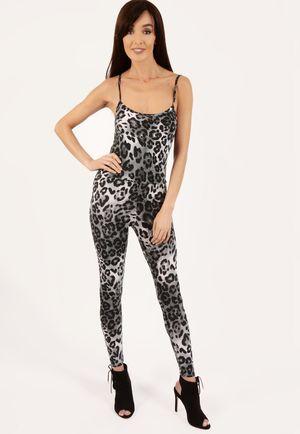 Molly Grey Leopard Print Jumpsuit