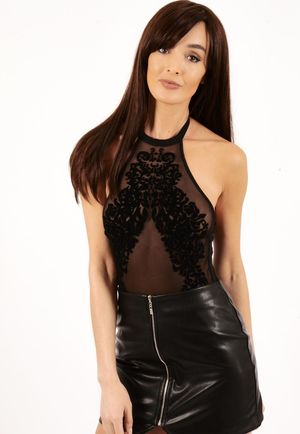Mazy Black Flocked Halter Neck Bodysuit