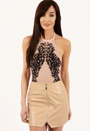 Mazy Nude Flocked Halter Neck Bodysuit