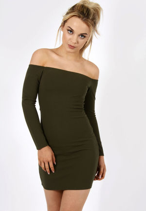 Bardot Mini Dress Khaki