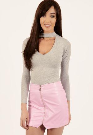 Mariah Grey High Neck Bodysuit