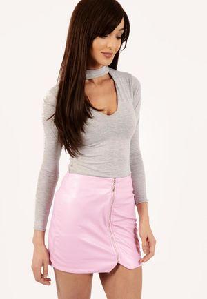 Jane Front Zip PU Mini Skirt Pink