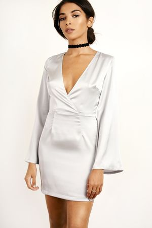 Silky Bell Sleeve Shift Dress Grey