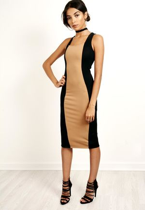 Laced Back Bodycon Dress Black & Camel