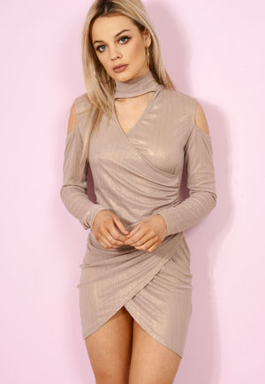Camel Shimer Wrap Over Choker Dress.