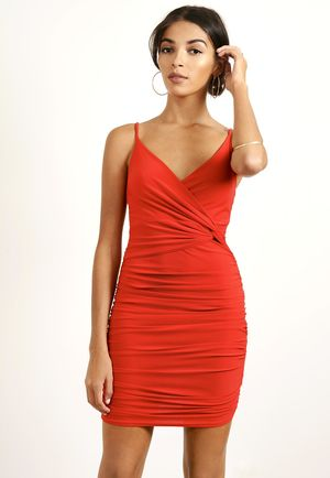 Knot Ruched Mini Dress Red