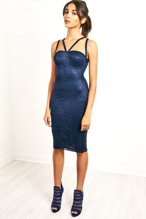 Double Strap Glitter Lace Dress Navy