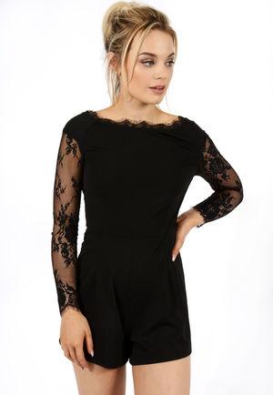 Lace Back Playsuit Black
