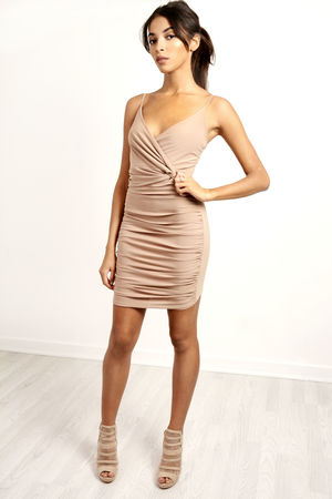 Knot Ruched Wrap Over Mini Dress Camel