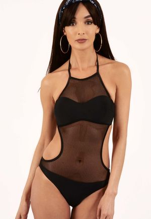Savannah Black Mesh Detail Padded Swimsuit-Copy