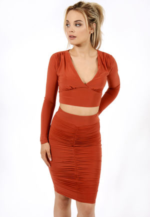 Slinky Ruched Co-ord Rust