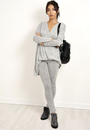 Silver Wrap Glitter Loungewear Set