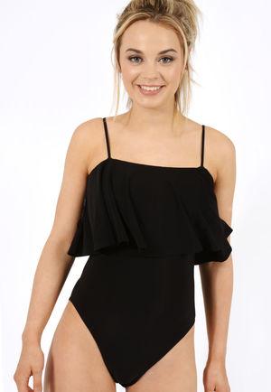 Aliza Black Frill Bodysuit