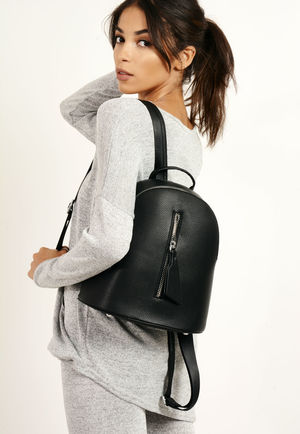 Zip Front Mini Backpack Grey